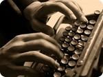 escribiendo en máquina