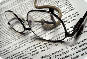 lentes sobre escrito
