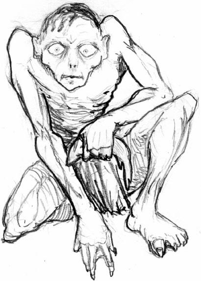 dibujo de gollum