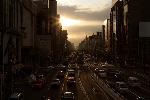 Sunset city scape